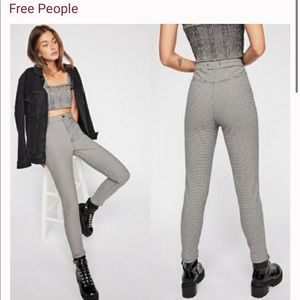 Free People We The Free Belle Houndstooth Printed Skinny Pants Size 25
